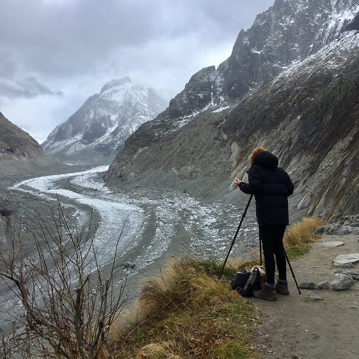 Chloe Dewe Mathews photographing at the Glacier Montanvert in 2017