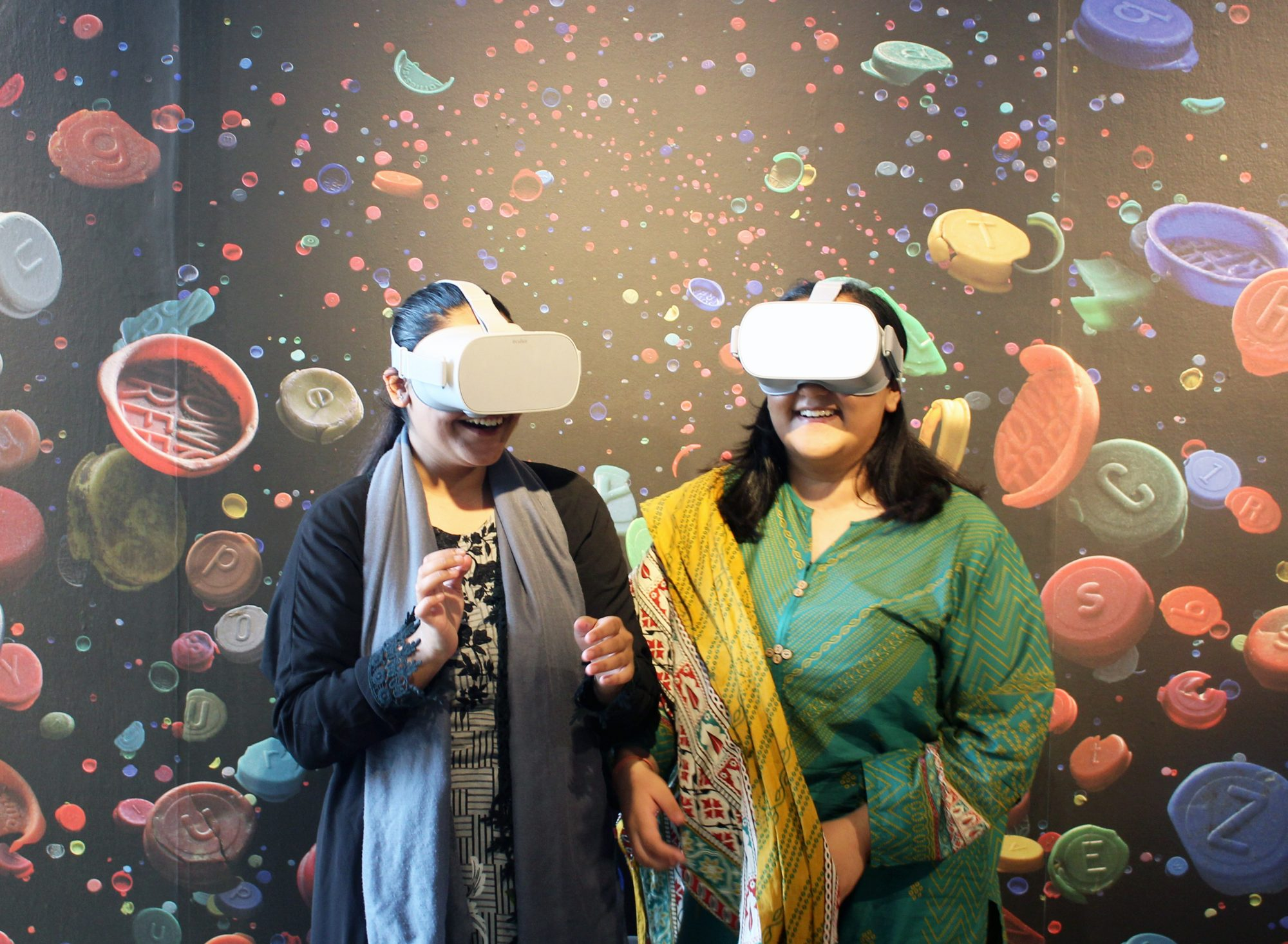 Visitors using virtual reality