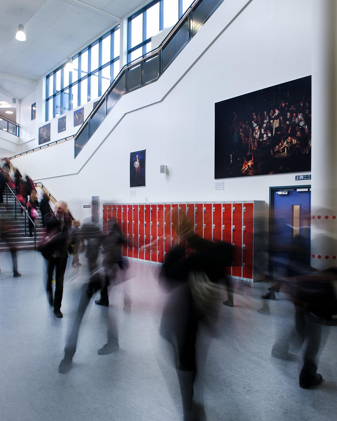Installation of the Hidden exhibition at Hanson Academy, Bradford