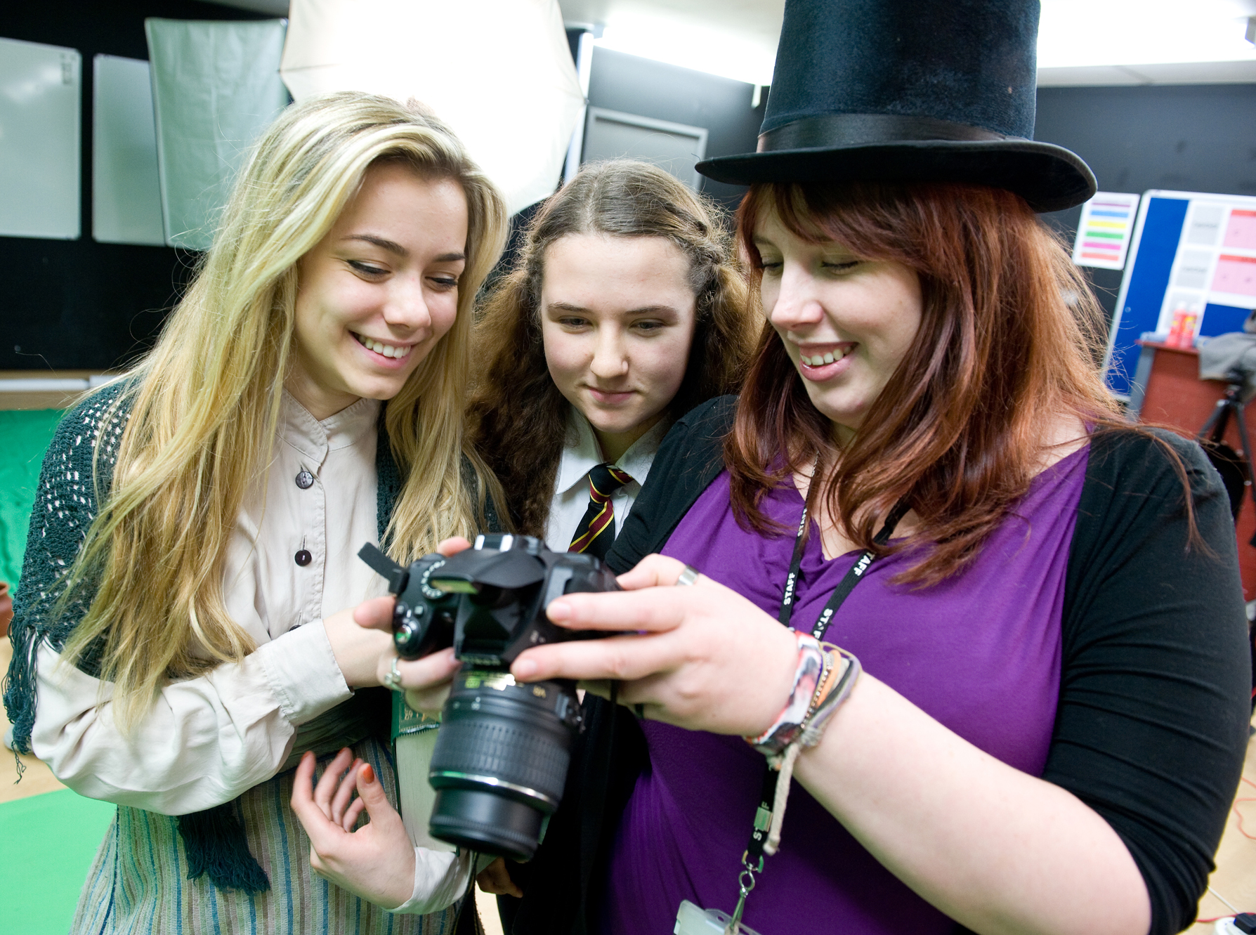 Students taking part in photography workshop