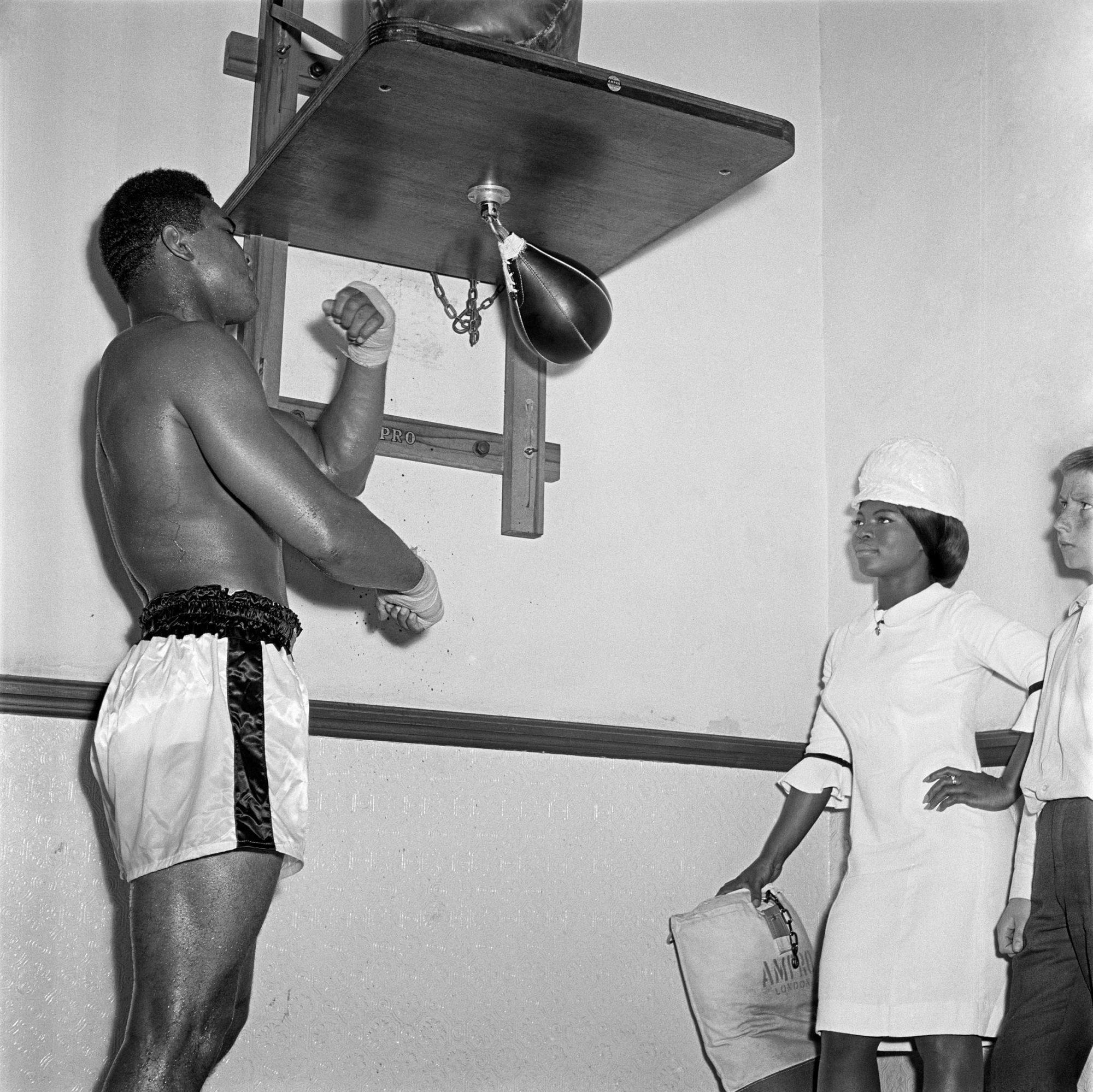 Muhammad Ali training at Earl's Court, London 1966 © James Barnor/Autograph ABP