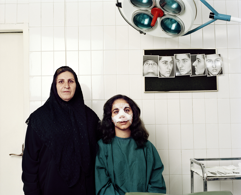 Elham, 19, and her mother, 55. Rhinoplasty 'nose job' operation. Tehran, Iran © Zed Nelson