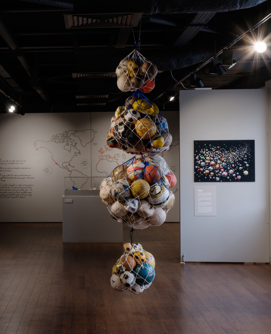 Installation of Our Plastic ocean by Mandy Barker at Waterside Arts, Sale